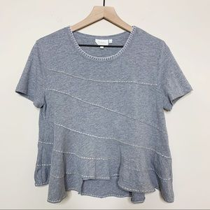 Anthropologie Deletta Grey Stitch Detail Top